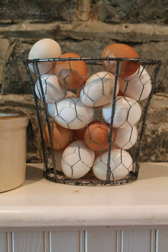 Upcycled Lamp Shade - Chicken Wire Basket - Country Decor - very clever