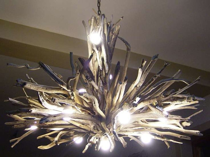 Chandelier LOVE: DIY but use white LED lights woven through the wood instead.
