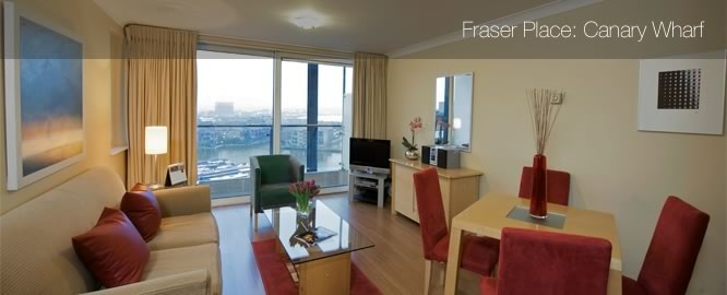 Fraser Place Canary Wharf: Contemporary London accommodation in Canary Wharf apartments; London self-catering accommodation in a Canary Wharf hotel; London apartment and residence.
