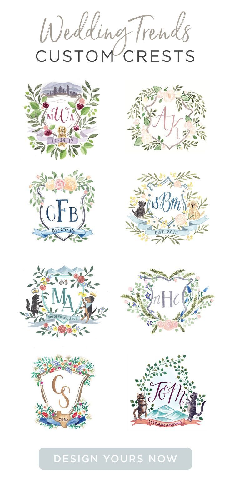 Custom Watercolor Wedding Crests Are A Great Way To Personalize