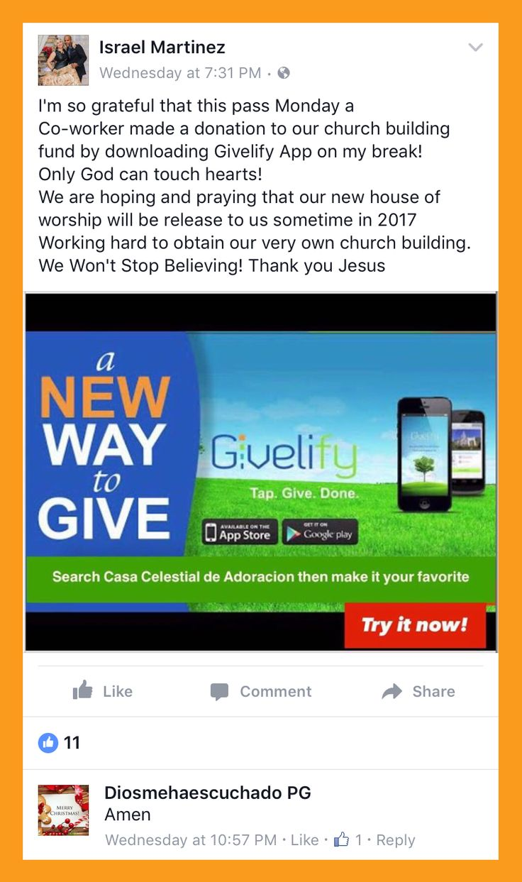 The Givelify giving app is so convenient that Israel was able to show a coworker how to make a donation to his church on his break. Thanks for helping to spread the word, Israel!
