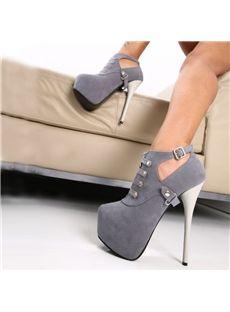 Ravishing  Buckle Decorated High Heels Ankle Boots #platformbootsheels #conciseboots