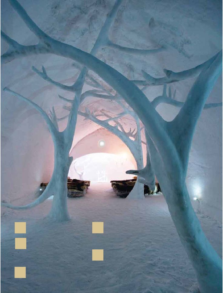 Ice hotel in quebec city, canda.   This shows suistainability as it uses natural materials from the surrounding area.