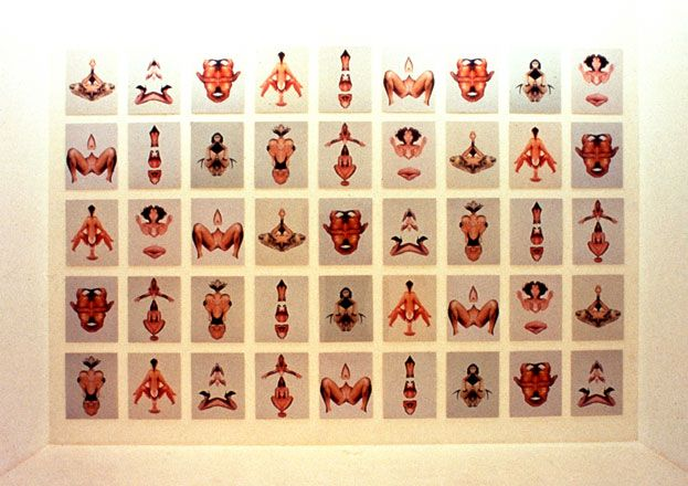 Candice Breitz: Rorschach Installation, 1997  45 Chromogenic Prints Each photograph: 50,8cm x 40,6cm Installation View: South African National Gallery, Cape Town Exhibition: Graft - 2nd Johannesburg Biennale, 1997 Ed. 3 + A.P.