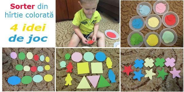 Sorterul din hirtie colorata este un joc simplu de facut, dar foarte folositor pentru dezvoltarea copilului.  Cu ajutorul acestei activitati micutul va invata: - culorile si nuantele,  - formele geometrice,  - notiunile mic, mare, mediu, egal.
