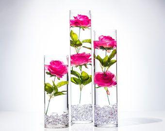 Kit rosa sumergible florales de la boda Centro de mesa con velas flotantes y cristales de acrílico