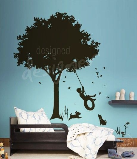 Little boy swinging under tree on tyre swing kids vinyl wall sticker decal art
