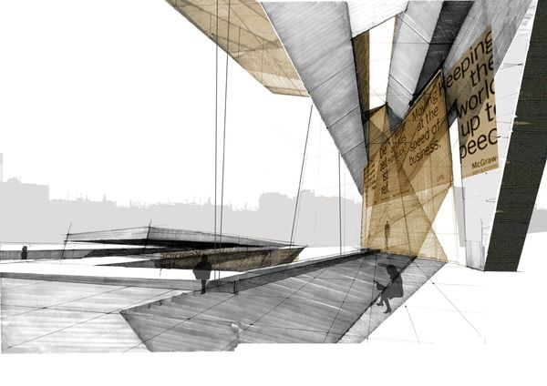 This is a good example of architectural drawings i like.  Subtle color, still looks hand drafted