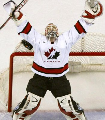 Martin Brodeur Team Canada in 2002. Men's and women's hockey team take the gold.never been prouder to be Canadian.