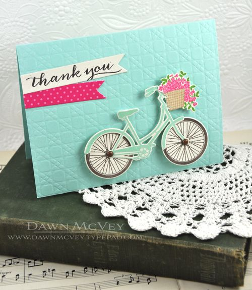 Thank You Bicycle Card by Dawn McVey for Papertrey Ink (May 2013)