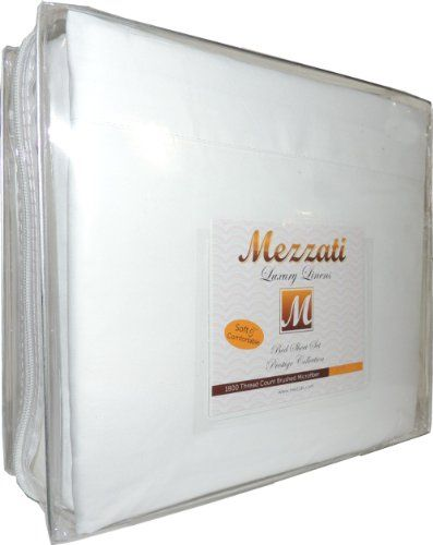 Mezzati Luxury Bed Sheets Set - Sale - Best, Softest, Coziest Sheets Ever! - High Quality 1800 Prestige Collection Brushed Microfiber Bedding - Money Back Guarantee (White, King)