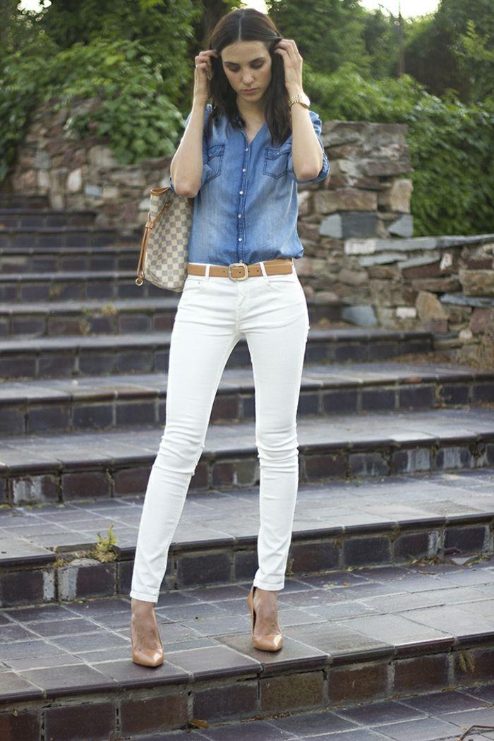Longue chemise en jean ou chemise et pull femme comment s habiller jean  blanc 1304f317319