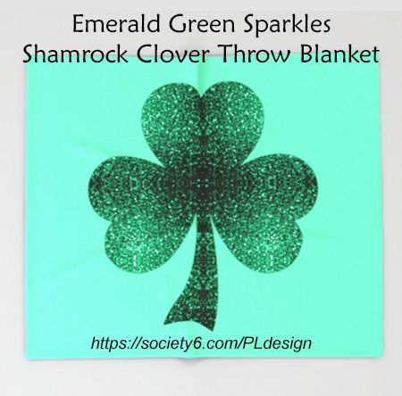 Emerald green shamrock clover sparkles throw blanket - Emerald green throw blanket ...