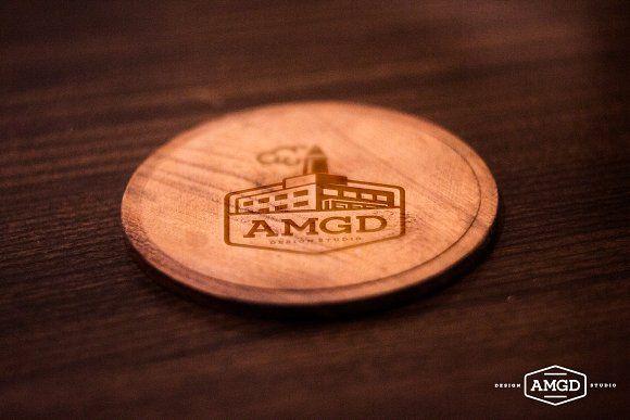 Wood Coaster Mock Up Wood Coasters Business Card Mock Up Mockup Design