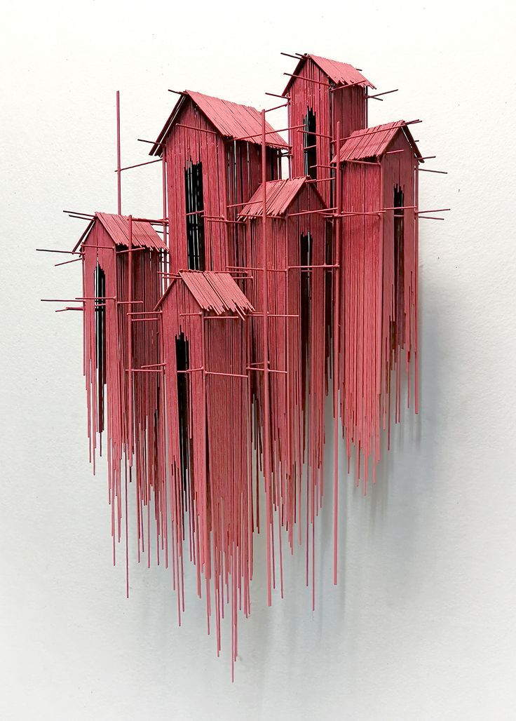 New architectural sculptures by David Moreno appear as a three-dimensional drawing