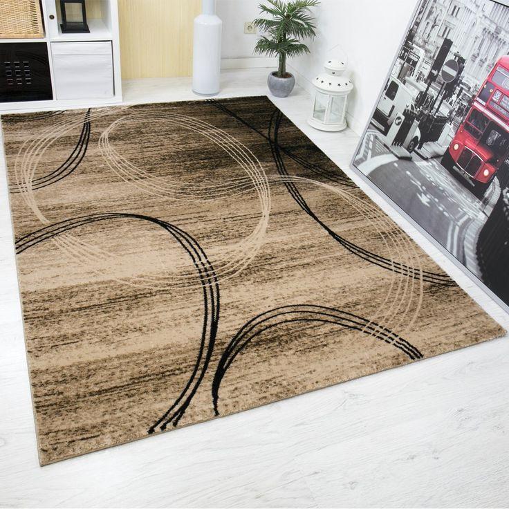 Klassischer Wohnzimmer Teppich sehr dicht gewebt Kreisel Muster - teppich wohnzimmer beige