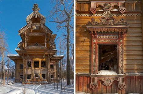 This stunning, intricately detailed abandoned farmhouse in Russia is located deep within the forest, far from civilization. It's thought to be a 19th century family home in the region of Kostroma. Its outside is remarkably well preserved, but the inside has suffered serious damage. There are many abandoned homes in the forests of Russia, too far away from modern conveniences for most people's preference.