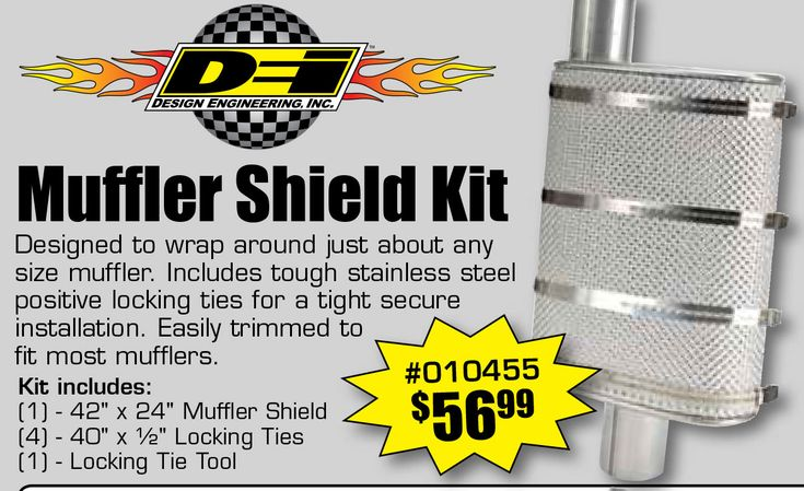 """DEI Muffler Shield Kit Starting From $56.99 EA.  Designed to wrap around just about any size muffler. Includes tough stainless steel positive locking ties for a tight secure installation. Easily trimmed to fit most mufflers.  Kit includes:  (1) - 42"""" x 24"""" Muffler Shield  (4) - 40"""" x ½"""" Locking Ties  (1) - Locking Tie Tool  https://aadiscountauto.ca/special/1129/dei-muffler-shield-kit.html  #DEI #Muffler #Shield #Kit #DEIMuffler #MufflerShieldKit #AADiscountAuto #AAperformance"""