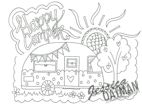Image Result For Happy Camper Coloring Pages Coloring Pages Camper Art Vintage Camper Art