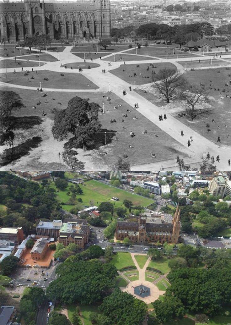 View of Hyde Park 1930 > 2014 [1930: @national_library_of_australia > 2014: Sydney Eye Blog/by Kevin Sundgren]