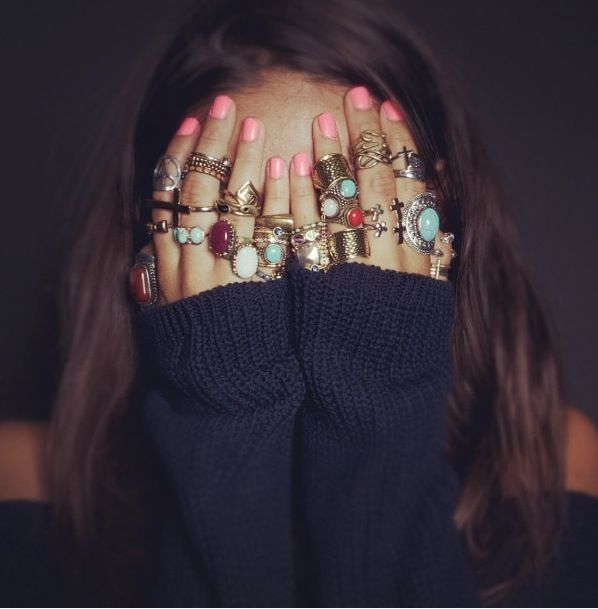 piled: Fashion, Style, Pink Nails, Vintage Rings, Brandy Melville, Nails Color, Jewelry, Nails Polish, Accessories