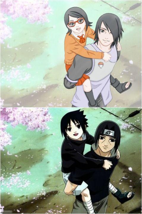 Sarada & Sasuke | Sasuke & Itachi from Naruto http://anime.about.com/od/naruto/fl/Naruto-Shippuden-20-DVD-Review.htm