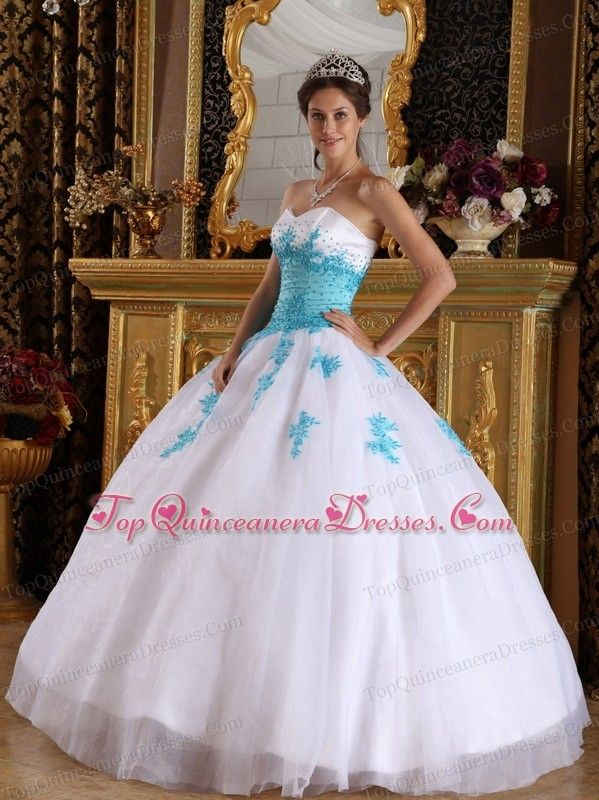 White and Blue Sweetheart Appliques Quinceanera Dress