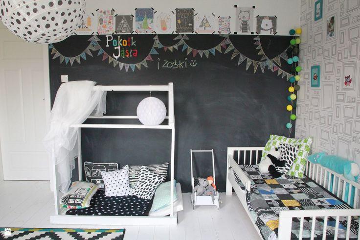 Pokój dzieci. - zdjęcie od Agnieszka Kijowska - Pokój dziecka - Styl Skandynawski - Agnieszka Kijowska, black & white, scandinavian design, kidsroom, diy