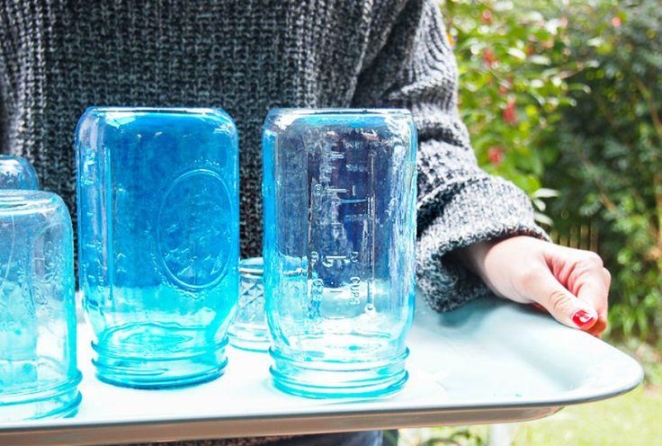 DIY Mason Jar Tutorial How to Make Blue Vintage Mason Jars - Beach Decor Blog, Coastal Blog, Coastal Decorating