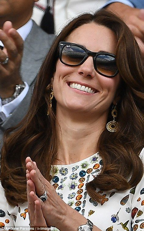 July 10, 2016. Wimbledon Tennis Championship. Kate applauds and laughs while watching the action on court