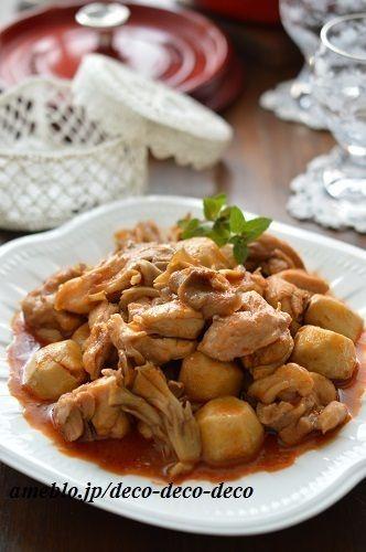 ストウブで!辛うま担々風♡チキンと里芋と舞茸のトマトソース煮込み ...