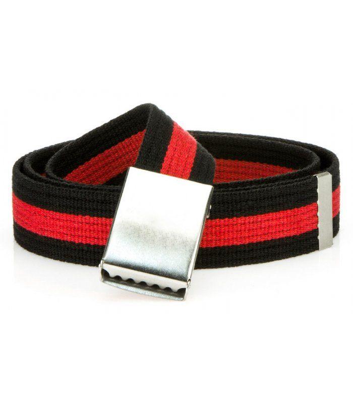 Pánsky pruhovaný čierno-červený opasok
