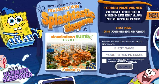 Enter to win 1 of 500 SpongeBob Bed Tents with a PushLight instantly in this #sweepstakes from #nickelodeon. Expiration Date 08/12/2015 Contest u2026  sc 1 st  Pinterest & Enter to win 1 of 500 SpongeBob Bed Tents with a PushLight ...