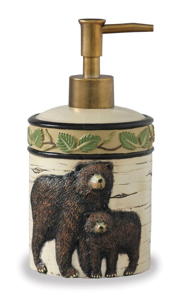 Park Designs Black Bear Hand Soap Dispenser 492 620 Rustic Log Home Cabin Bear Decorbathroom