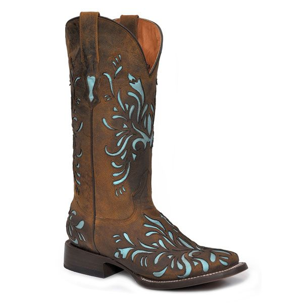 Women's Cowboy Boot with Sky Blue Underlay - Brown | Stetson