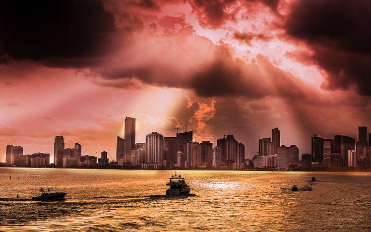 Miami rain and sundown - null