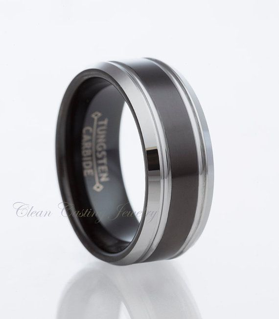 Hey, I found this really awesome Etsy listing at https://www.etsy.com/listing/186767589/two-tone-black-tungsten-carbide-wedding