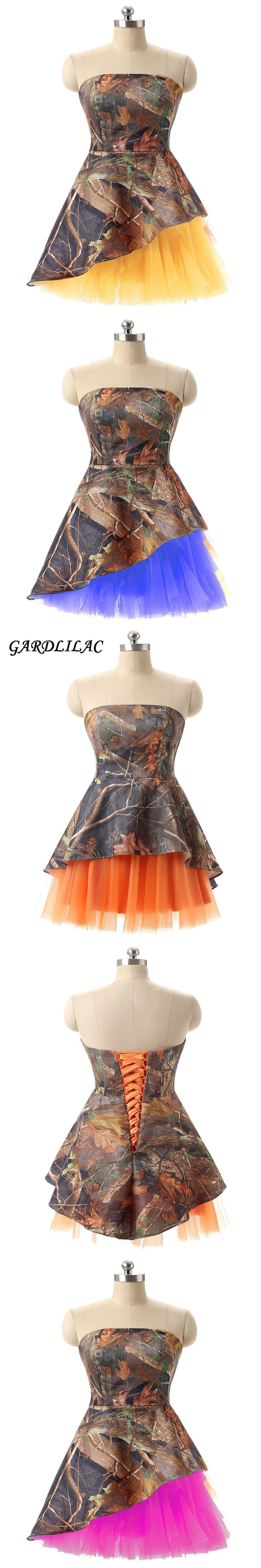 Gardlilac camo Homecoming Dress Strapless Short Homecoming Dress Wedding Party Gown Maid of Honor Camo Prom Dress