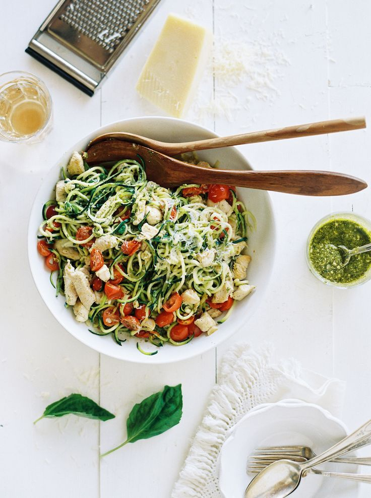 "Zucchini Noodle Pesto Pasta - the easiest most delicious low-carb ""pasta"" ever!"