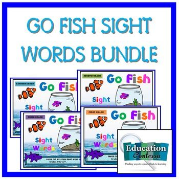 Played just like the traditional game of Go Fish using Sight Words.  This bundle includes sets for Kindergarten, 1st, 2nd, and 3rd.Each grade of cards can be broken up into 2 or 4 game sets. Directions and bag labels are included.Buying all 4 sets together will save you $3.00Buy now and you'll get a free bonus bingo game when those are finished - you'll get an email to download an update.