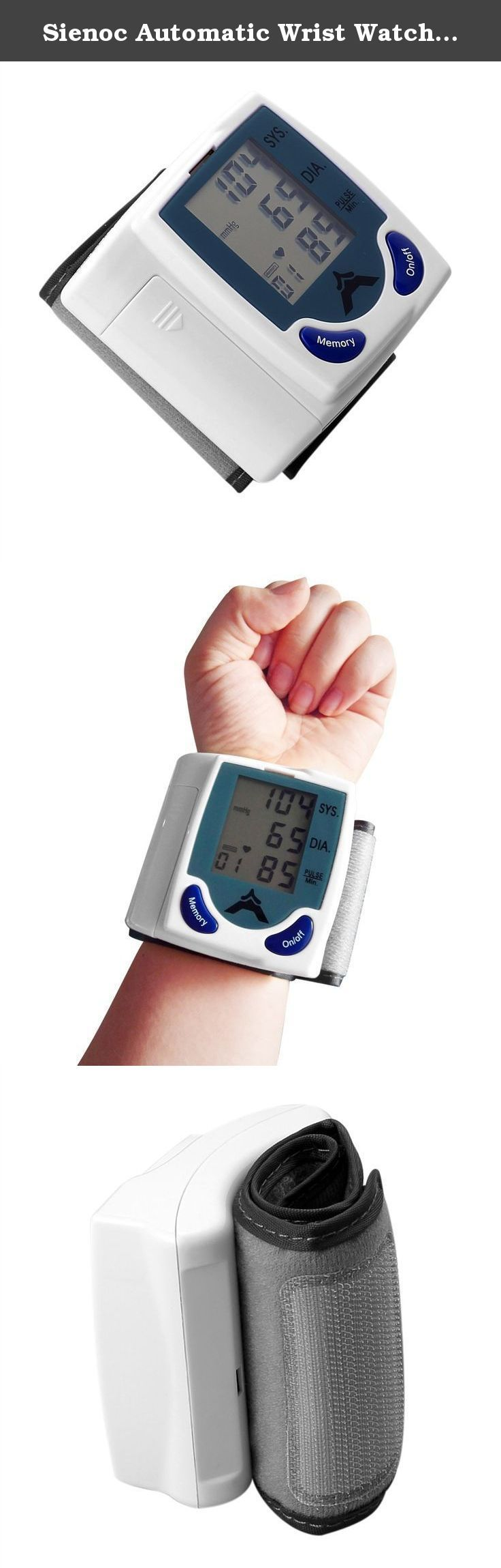 Sienoc Automatic Wrist Watch Blood Pressure Monitor Heart Rate Meter with LCD Display Color White. Features: Intelligent automatic compression and decompression Measure systolic, deastolic and pulse at the same time Easy to operate, switching button to start measuring 60 store groups memory measurement Can read single or all measures 3 minutes automatic power saving device Intelligent device debugging ,automatic power to detect Local tests for: wrist circumference as 135~195mm Largescale...