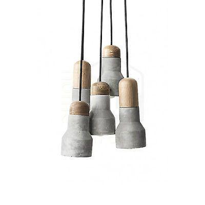 New Modern Molded Concrete Wood Cafe Ceiling Cluster Pendant Drop Light - 13016