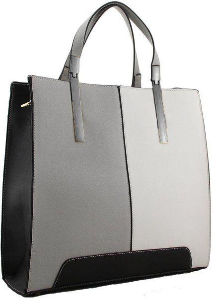 Colour Block Fashion handbag with Detachable Shoulder Strap