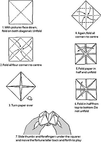 "Free blank printable fortune teller (also called ""cootie catcher"")"