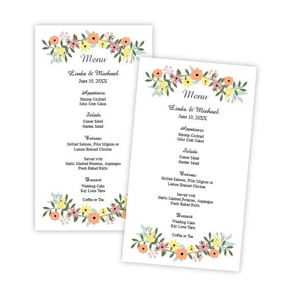 Wedding Menu Card Template  Country Flowers Menu Card by AJsPrints