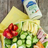 Another salad recipe! AD It's cold, crisp and so delicious that my kids specifically requested salad twice in one week. No lie. They loved every bite! Yes, to mom wins like this one and there's no heating up the kitchen on these warmer days. It's all fresh ingredients from the produce aisle to your refrigerator to you table. Topped with delicious Homestyle Ranch from @litehousefoods #SeeTheLite