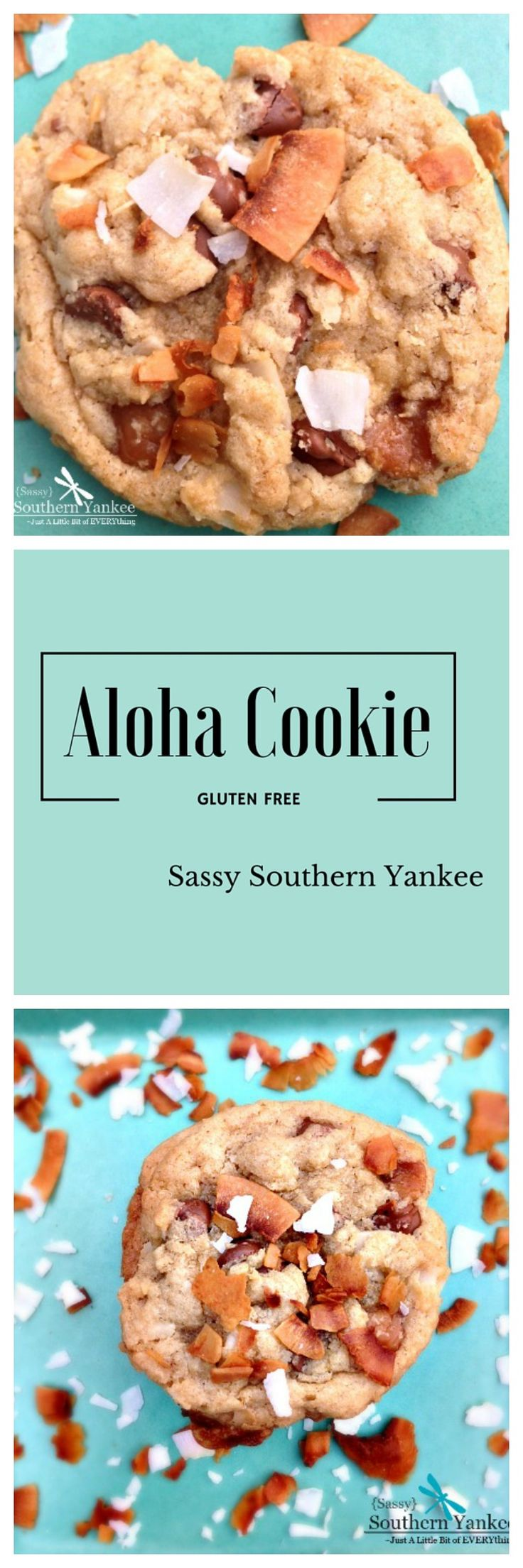 Hints of toasted coconut,  rich chocolate and creamy caramel make this Aloha Cookie my new favorite cookie! This is my take on those delicious girl scout cookies we all know and love.