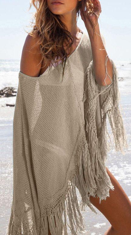 Khaki Knit Tassel Poncho