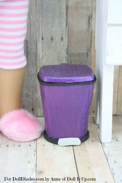 Doll Craft -How to Make a Trash Can.  This is the cutest thing evar!