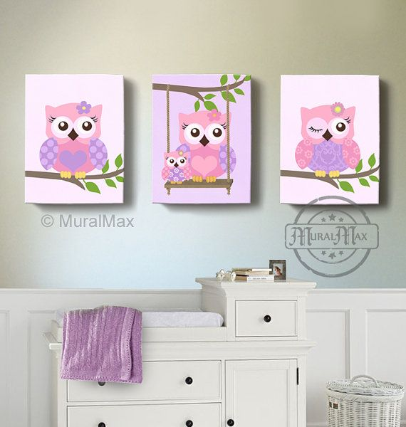 Owl Baby Nursery Canvas Print for any girls room. This is a set of three Owl Canvas Prints... The print can be customized with your choice of colors,